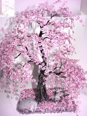 Урок по плетению дерева сакуры из бисера по схеме P - Piraku.