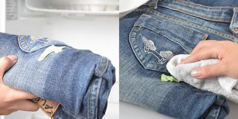 как удалить жвачку с джинс
